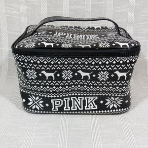 VS PINK Holiday Make Up Bag Train Case Nordic Snow